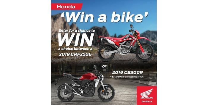 Win a Bike | Great Lakes Honda