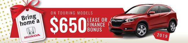 $650 Lease of finance bonus on 2019 HR-V Touring models