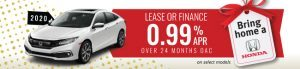 CIVICS 2020 Lease and finance 0.99% APR 24 months oac