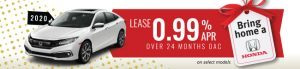 0.99% lease over 24 months on select 2020 civics